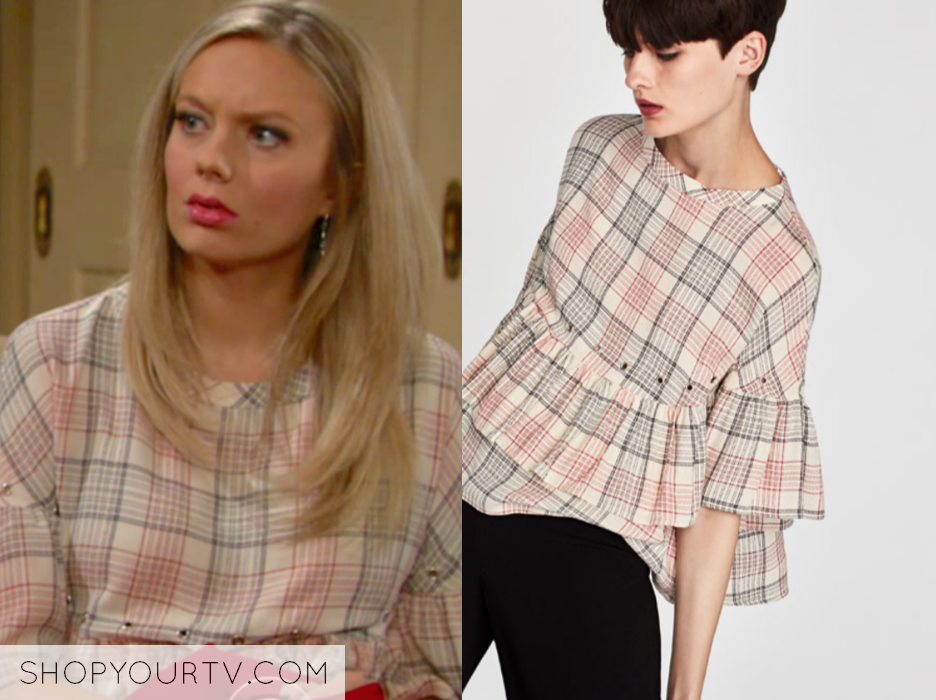 zara check grommet top