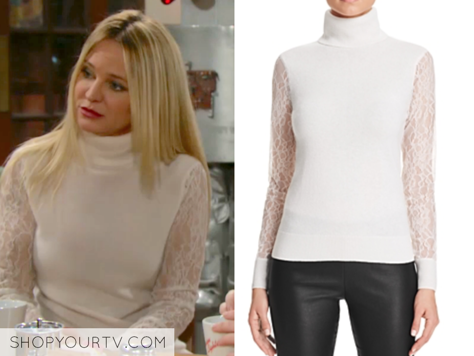 C by Bloomingdale's Lace Sleeve Turtleneck Cashmere Sweater