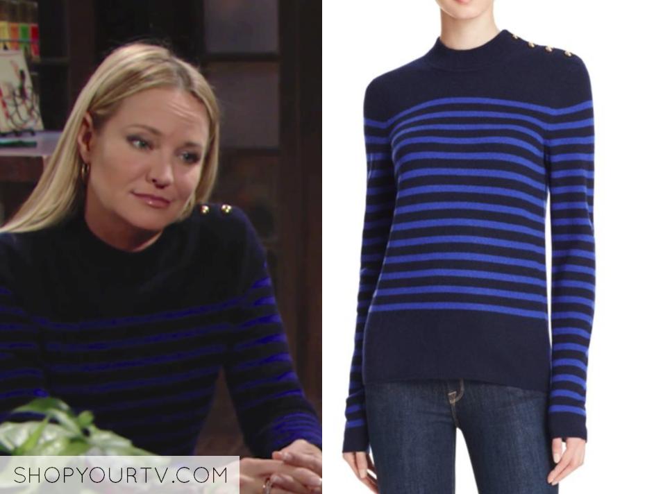 AQUA Cashmere Stripe Mock Neck Cashmere Sweater