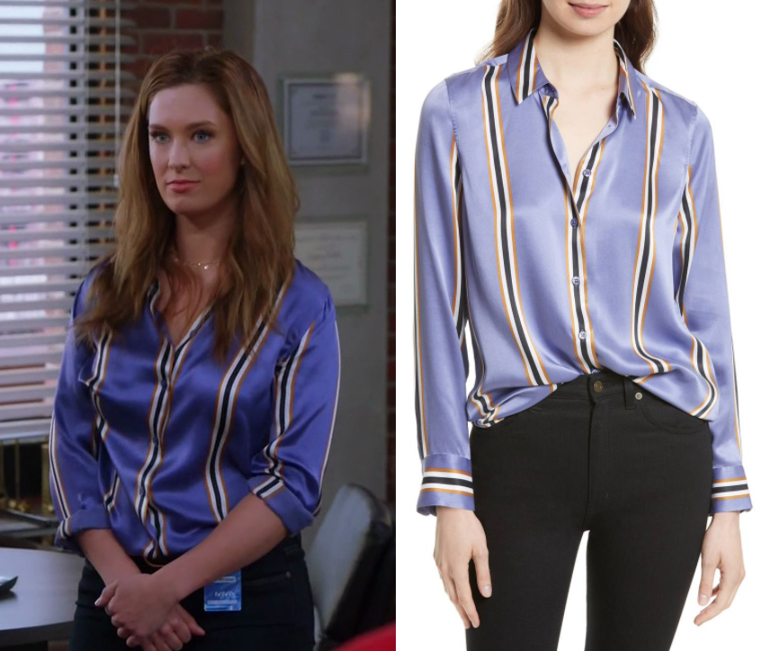 406ced68fdc09 Great News  Season 2 Episode 10 Katie s Blue Silk Blouse