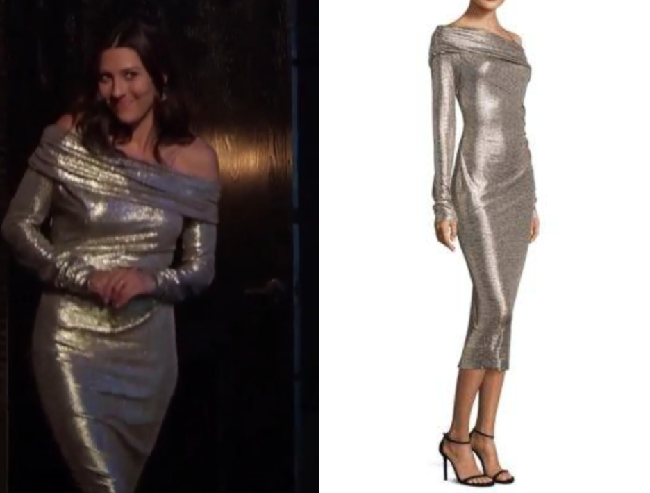 Rachel Zoe Glenda Off-The-Shoulder Metallic Dress