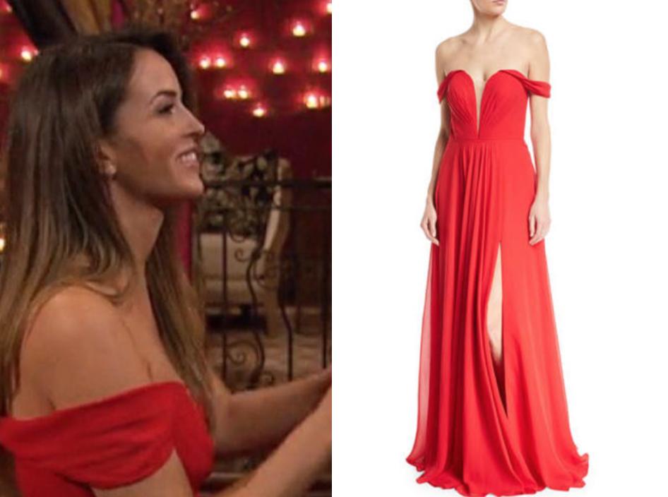 Faviana Off-the-Shoulder Draped Chiffon Corset Gown