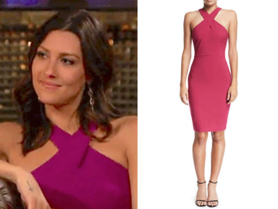 e75af562ee The Bachelor  Season22 Episode 3 Becca K. s Pink Halter Sheath Dress ...