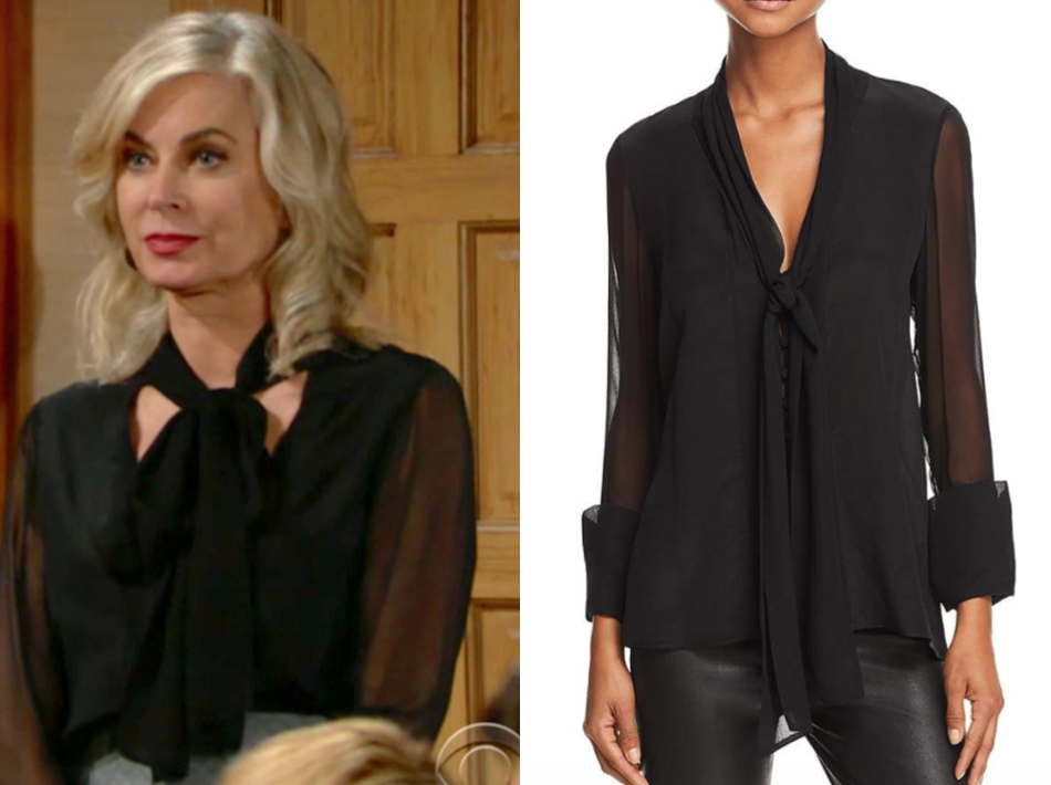 Alice and Olivia Gwenda Tie-Neck Silk Blouse