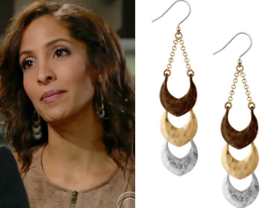 Lucky Brand Tri-Tone Linear Drop Statement Earrings