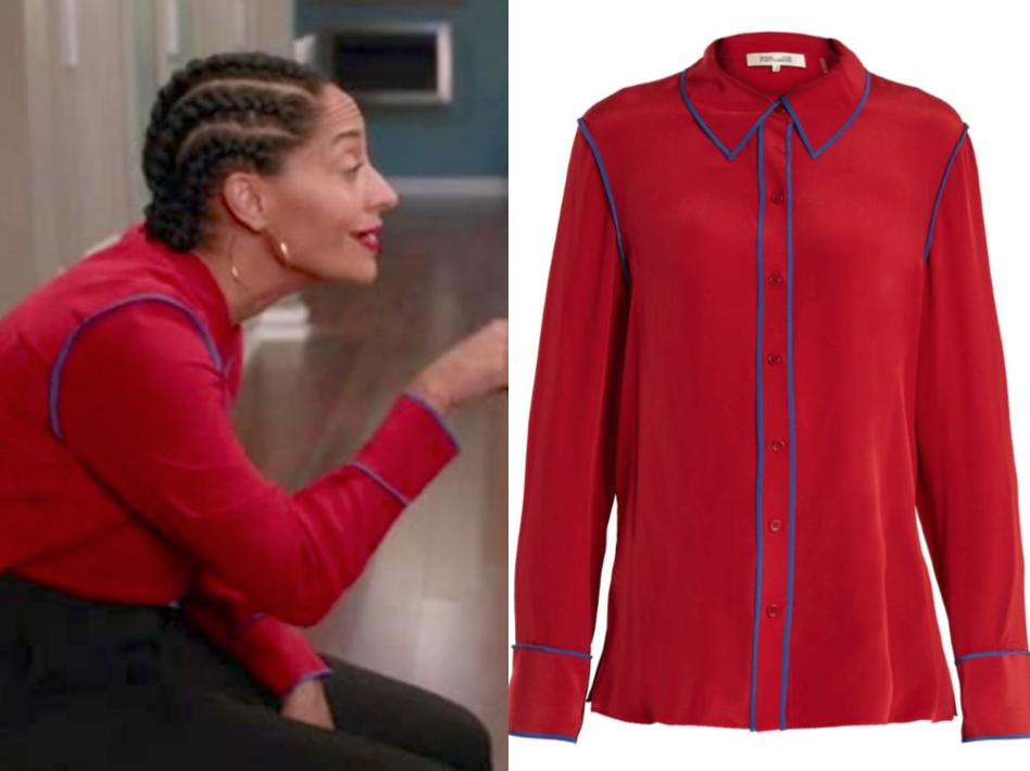 DIANE VON FURSTENBERG Point-collar silk-crepe shirt