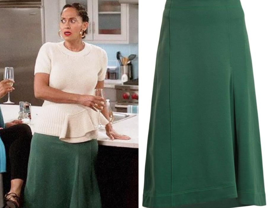TIBI Topstitched knee-length A-line skirt