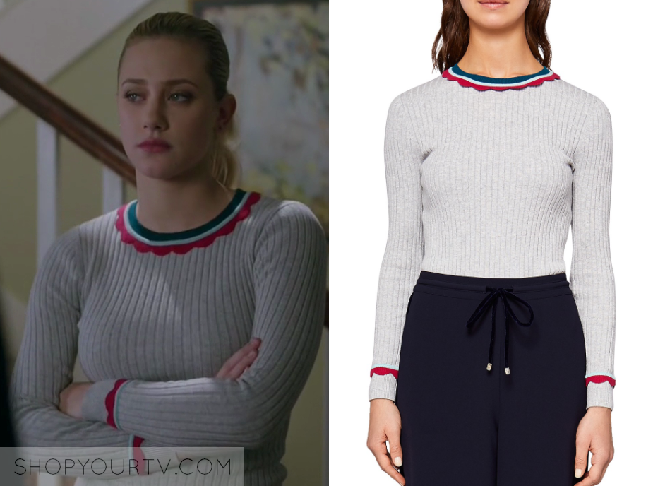 42c6a2f5 Riverdale Season 2 Episode 19 Bettyu0027s Grey Scalloped Trim Ribbed  Sweater Sc 1 St Shop Your TV