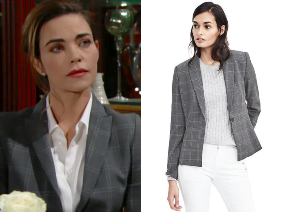 victoria newman, grey plaid blazer jacket, the young and the restless, amelia heinle