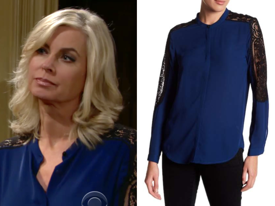 the kooples blue lace insert blouse, the young and the restless, ashley abbott, eileen davidson