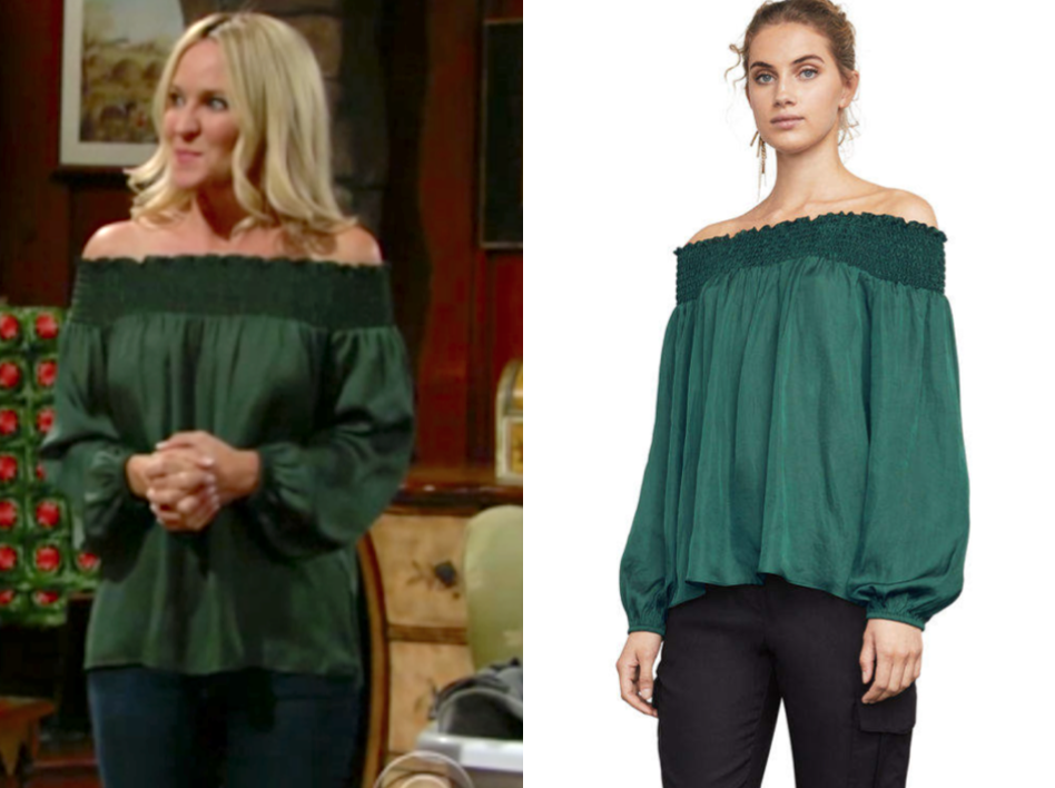 BCBGMAXAZRIA BCBG Milou Off-The-Shoulder Top, the young and the restless, sharon newman, sharon case