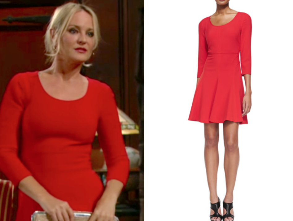diane von furstenberg red scoop neck dress, the young and the restless, sharon newman, sharon case
