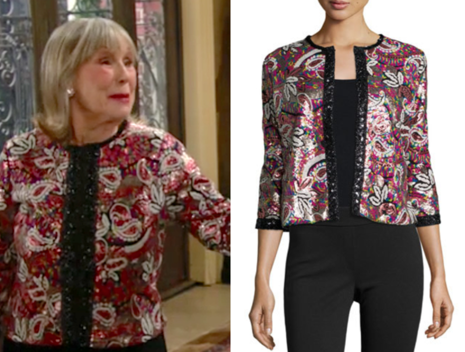 Michael Simon Paisley Sequined Cardigan, marla adams, the young and the restless, dina mergeron