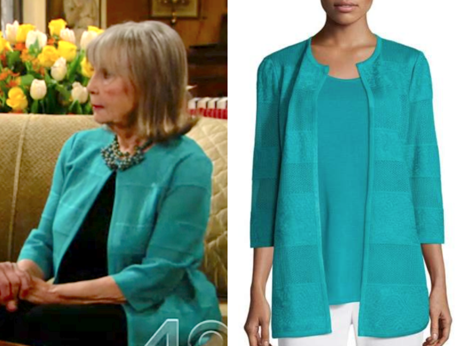 Misook Textured Lines Long Jacket, dina's turquoise striped cardigan, the young and the restless, marla adams