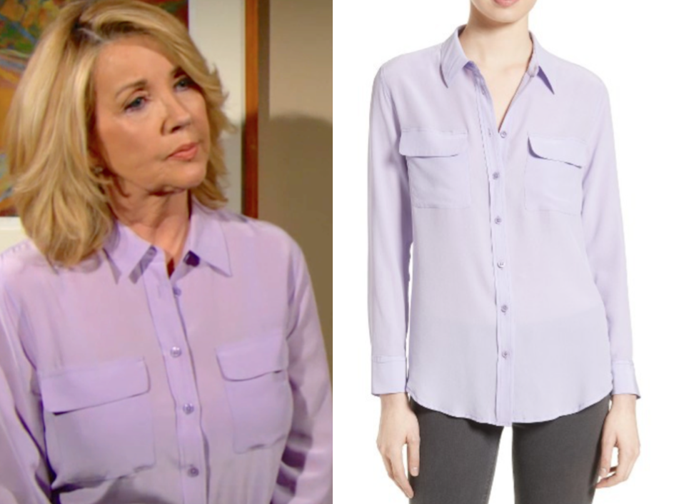 Equipment Slim Signature Silk Shirt, the young and the restless, nikki newman, melody thomas scott