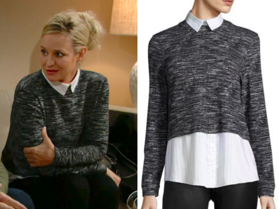 alice + olivia Maelynn Layered Sweater, sharon newman, sharon case, the young and the restless