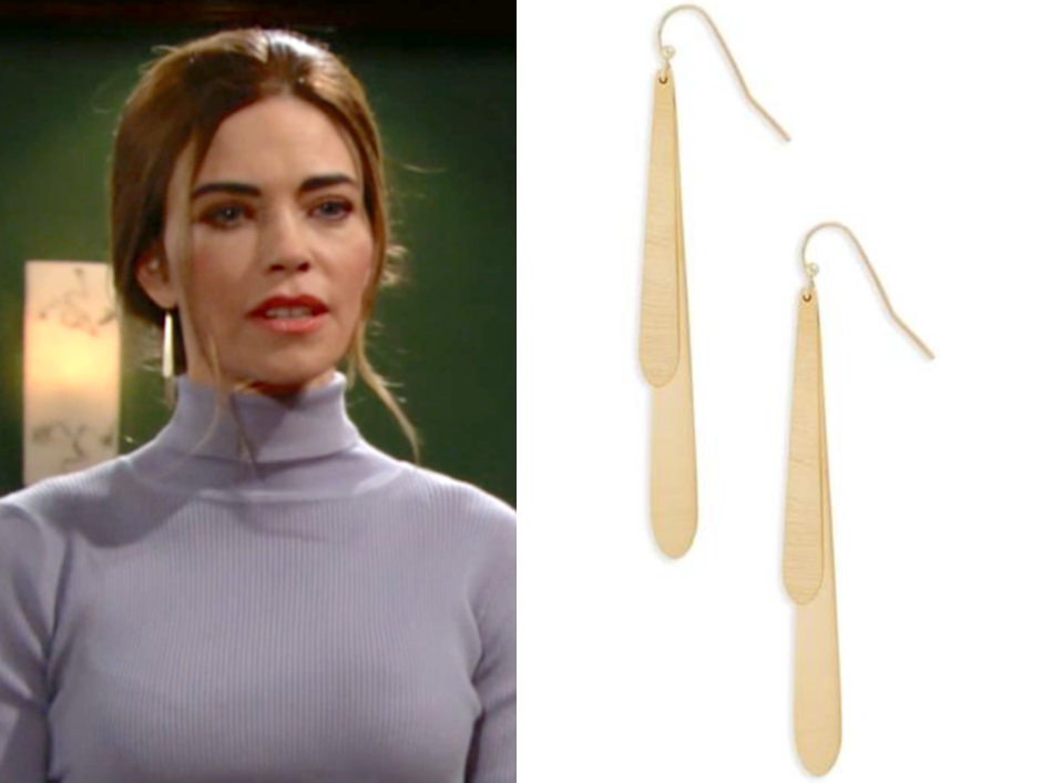 Halogen(R) Double Eclipse Linear Drop Earrings, victoria newman, amelia heinle, the young and the restless