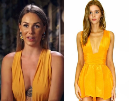 1219a31f7d ... wears this yellow orange deep v neck playsuit in this episode of  Bachelor in Paradise Australia. It is the Sisters the Label Tangerine Dream  Multiway ...