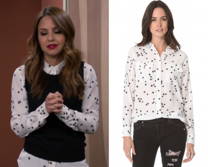 """39e4230be35b33 Sofia Rodriguez (Aimee Carrero) wears this white button front shirt with  black star prints in this episode of Young and Hungry, """"Young & Mexico:  Part 2""""."""
