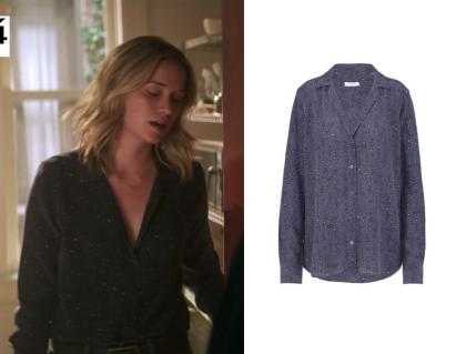 You: Season 1 Episode 7 Beck's Navy Printed Shirt | Shop Your TV