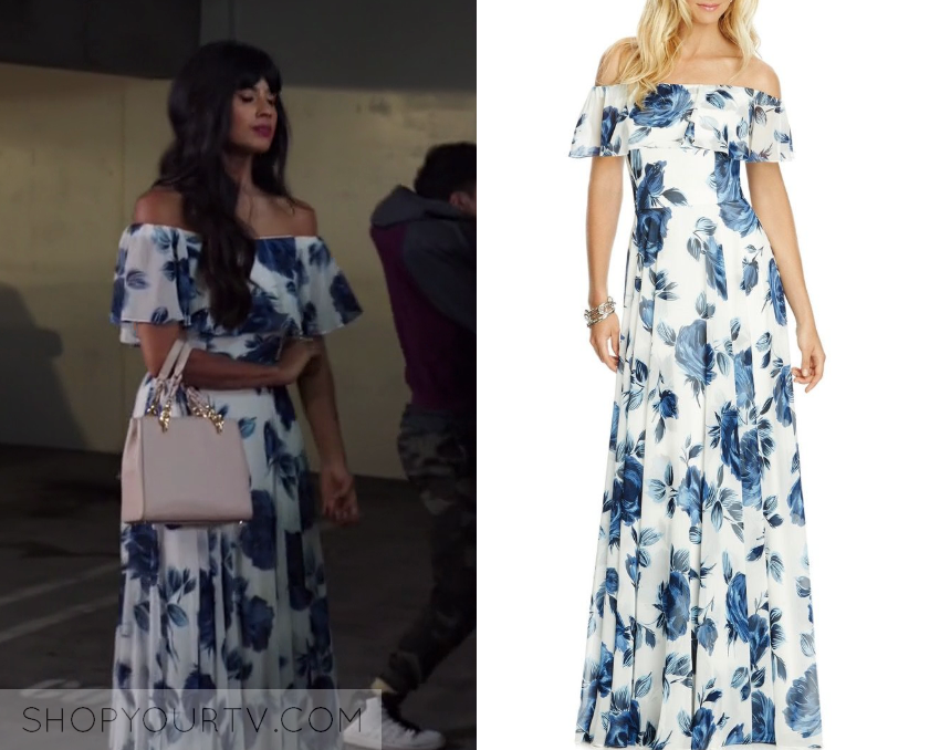 dd1d4235f14 The Good Place  Season 3 Episode 8 Tahani s Blue Off Shoulder Floral  Printed Maxi Dress