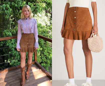 31dbf76350a Holly Willoughby wears this brown button front ruffled mini skirt in this  episode of I m A Celebrity… Get Me Out of Here!