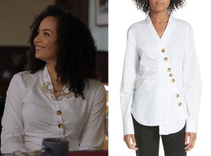 Charmed: Season 1 Episode 5 Macy's White Large Button Blouse