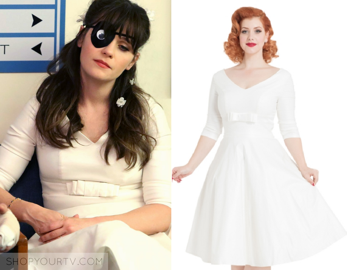 New Girl  Season 7 Episode 7 Jess s White Short Wedding Dress 58163ccc6