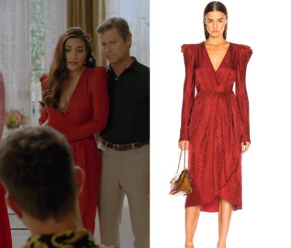 Dynasty Season 2 Episode 7 Cristal S Red V Neck Puff Sleeve Dress