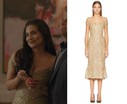 Dynasty Season 2 Episode 9 Cristal S Embellished Off Shoulder Dress
