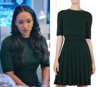 The Flash: Season 5 Episode 11 Iris' Green Flare Scallop Trim Dress