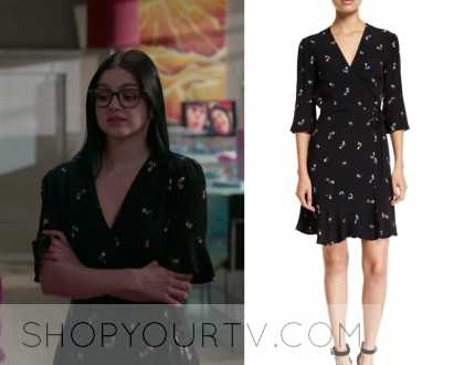 Modern Family Season 10 Episode 15 Alex S Black Floral Wrap Dress Shop Your Tv
