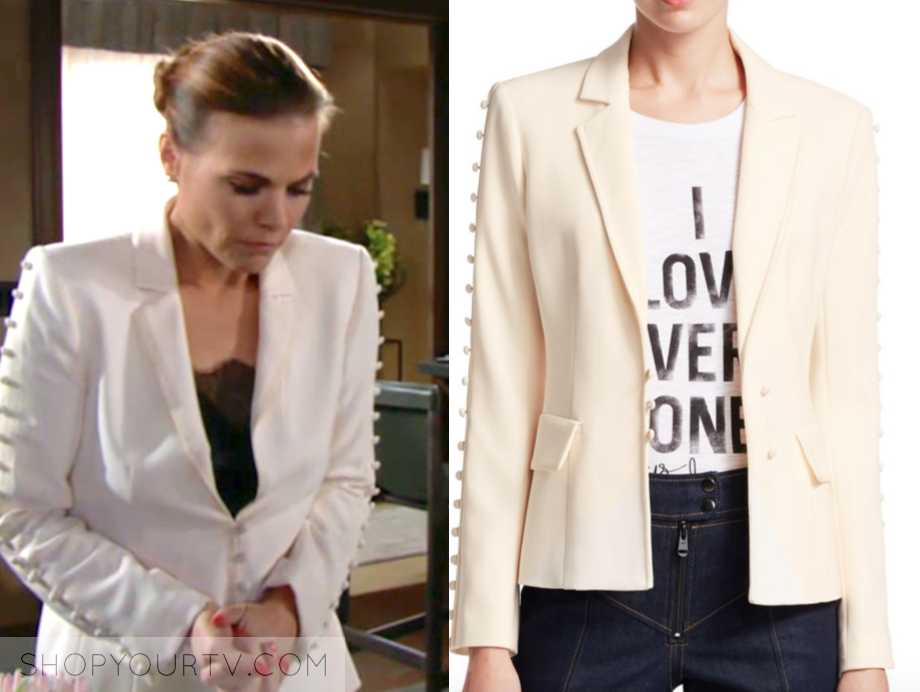ivory button sleeve blazer, the young and the restless