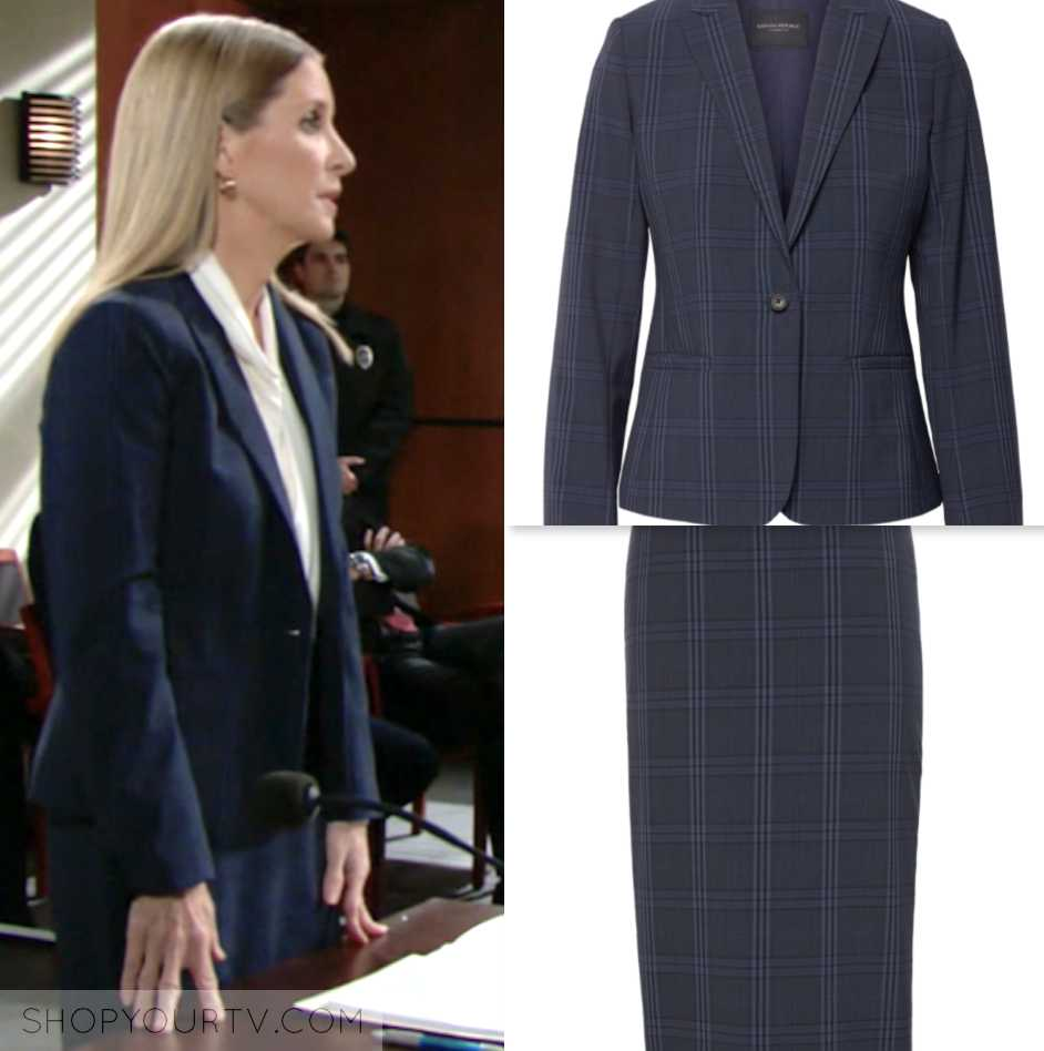 lauralee bell, the young and the restless, blue plaid skirt suit, wardrobe, fashion, outfit, style