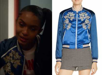d08c07cdb Grown-ish: Season 2 Episode 10 Zoey's Blue Embroidered Bomber Jacket ...