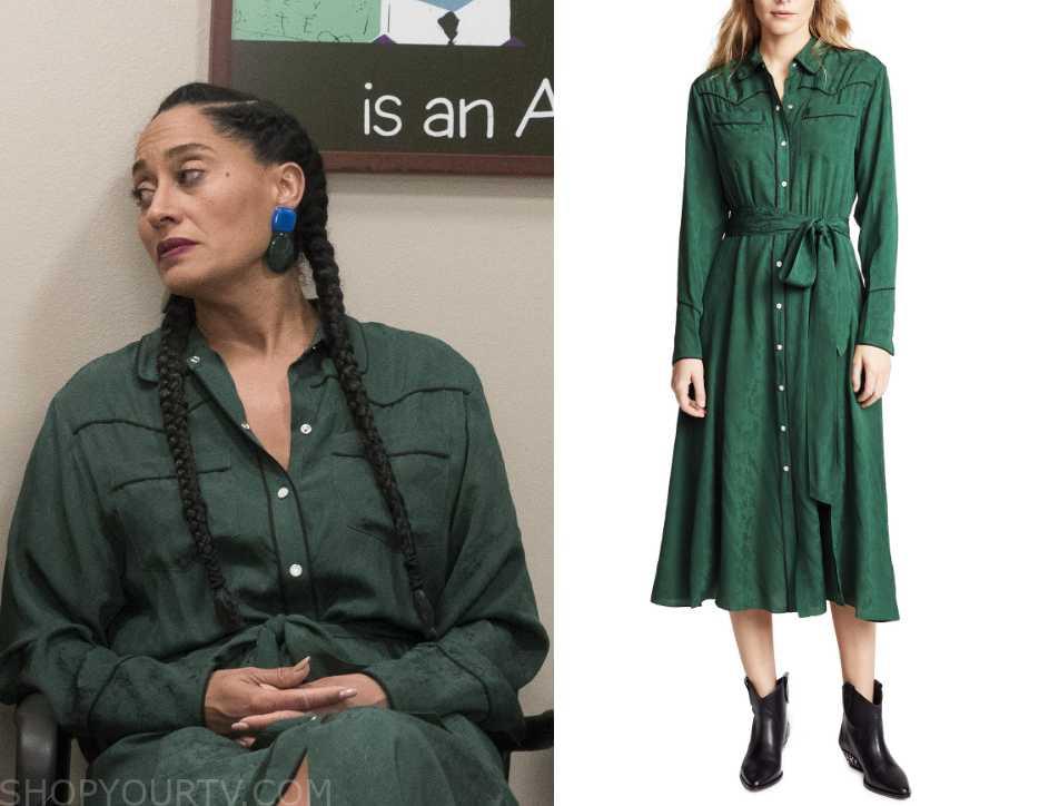 fc6f5cda3fbe Blackish  Season 5 Episode 15 Rainbow s Green Shirt Dress