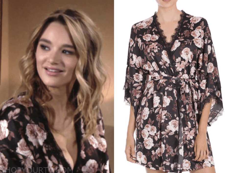 c7807d12bf8 The Young and the Restless  April 2019 Summer s Floral Lace Trim Robe