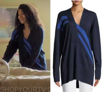 """0b918c1a Mary Jane Paul (Gabrielle Union) wears this navy and light blue wrap knit  sweater in this week's episode of Being Mary Jane """"Becoming Pauletta""""."""