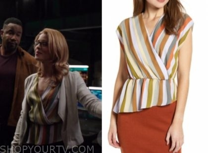 """423b89fa Felicity Smoak (Emily Bett Rickards) wears this striped wrap peplum blouse  in this episode of Arrow, """"You Have Saved This City""""."""