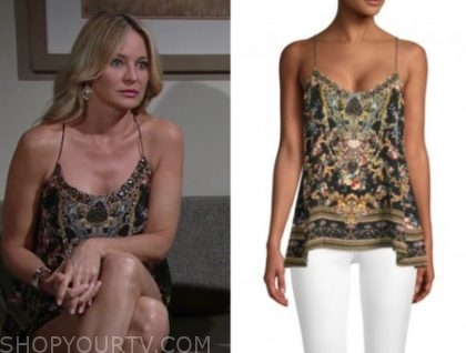 sharon case, sharon newman, fashion, outfit, style, wardrobe, clothes, sequin top,
