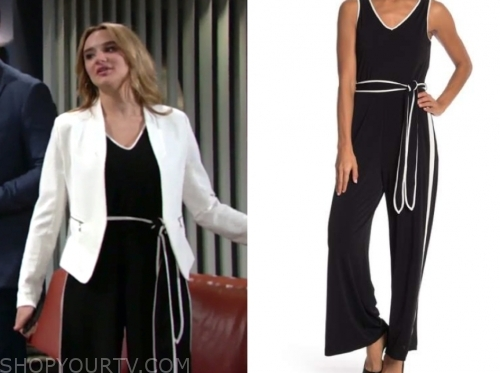 591b2aaff9b The Young and the Restless  May 2019 Summer s Black and White Contrast Trim  Jumpsuit