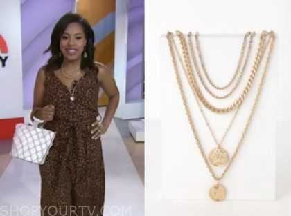 The Today Show May 2019 Sheinelle Jones S Gold Coin Layered Necklace Shop Your Tv
