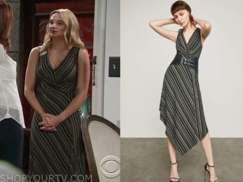 76f49b4bf9b The Young and the Restless  May 2019 Summer s Black Stripe Knit Maxi Dress