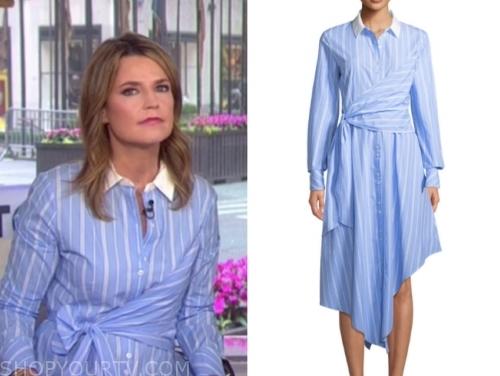 7afa1e52e The Today Show  May 2019 Savannah Guthrie s Blue and White Stripe  Asymmetric Shirt Dress