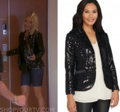 """f311311427f1e2 Dorit Kemsley wears this black sequin blazer in this week's episode of Real  Housewives of Beverly Hills """"The Ultimate Ultimatum"""""""