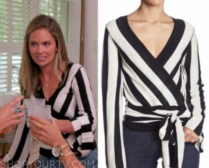 """35c67ce7 Cameran Eubanks wears this black and white striped wrap front top in this week's  episode of Southern Charm """"Kat's Out of the Bag""""."""
