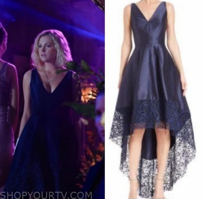 The 100: Season 6 Episode 4 Clarke's Navy Lace Trim Dress