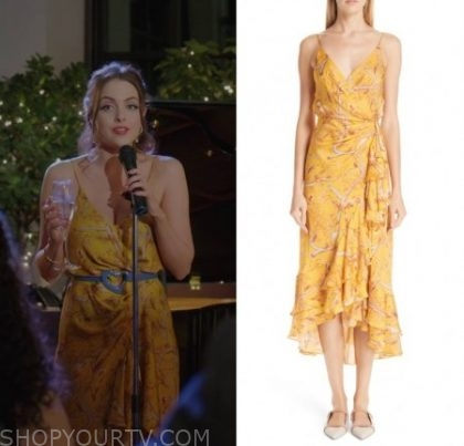 Dynasty: Season 2 Episode 19 Fallon's Yellow Floral Print Dress