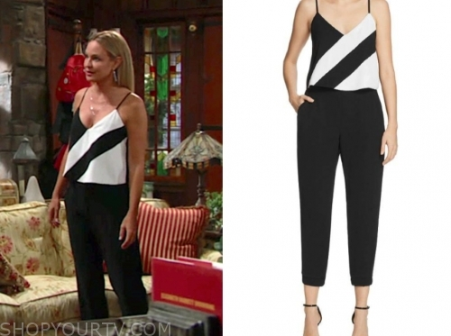 d46b0797 The Young and the Restless: June 2019 Sharon's Black and White Diagonal  Stripe Jumpsuit