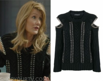 """435f68161f Renata Klein (Laura Dern) wears this black cable knit chain sweater in this  episode of Big Little Lies, """"She Knows""""."""